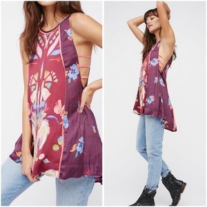 Free People Dream Free Printed Tunic Wine XS